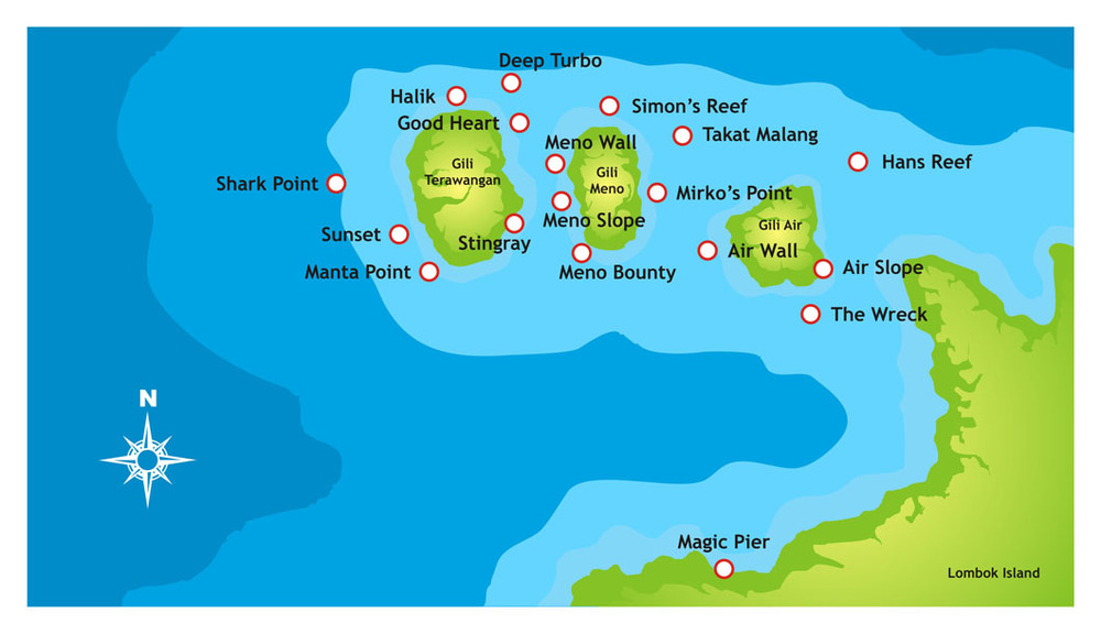 Carte Bali Lombok Gili.Dive Sites Blue Marine Dive