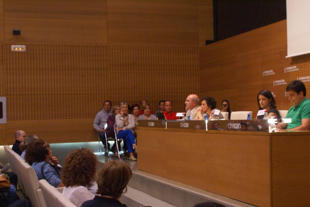 De izquierda a derecha: Juan Carlos Oria, Lorena de Simón, Cristina García y Sergio Saldaña