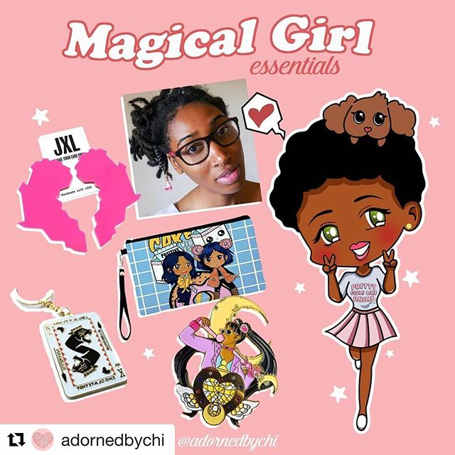 ・・・ 💖 #GIVEAWAY TIME!💖@adornedbychi Kickstarter for her African Magical Girl story just hit the halfway mark!! To celebrate we're giving away Chiamaka's magical girl essentials from a few of our fave brands! You even have the chance to win the Pretty Girls Like Anime tee she wears 🧚🏾‍♀️ 👉🏽Entering is simple, follow all brands tagged (we will check! Lol) then leave a comment tagging 2 friends & tell us why you're excited for #adornedbychithestory 😊💖😘👈🏽 winner will be chosen on Monday! (Thanks to @jxls, @fathairjewelry, @chanakirasan, @solussamurai & @happy_monstah for donating their cutesy items!!) #giveaway #sailormoon #fashion #accessories #blackgirlmagic #friday #competition
