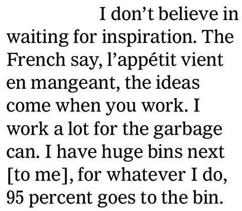 excerpt from @nytimes interview (3/3/15) with the revered @karllagerfeld on his #creative #process #karllagerfeld #design -- http://nyti.ms/18Lczbo