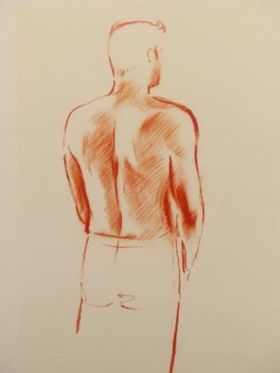 Figure drawn in venetian red conte