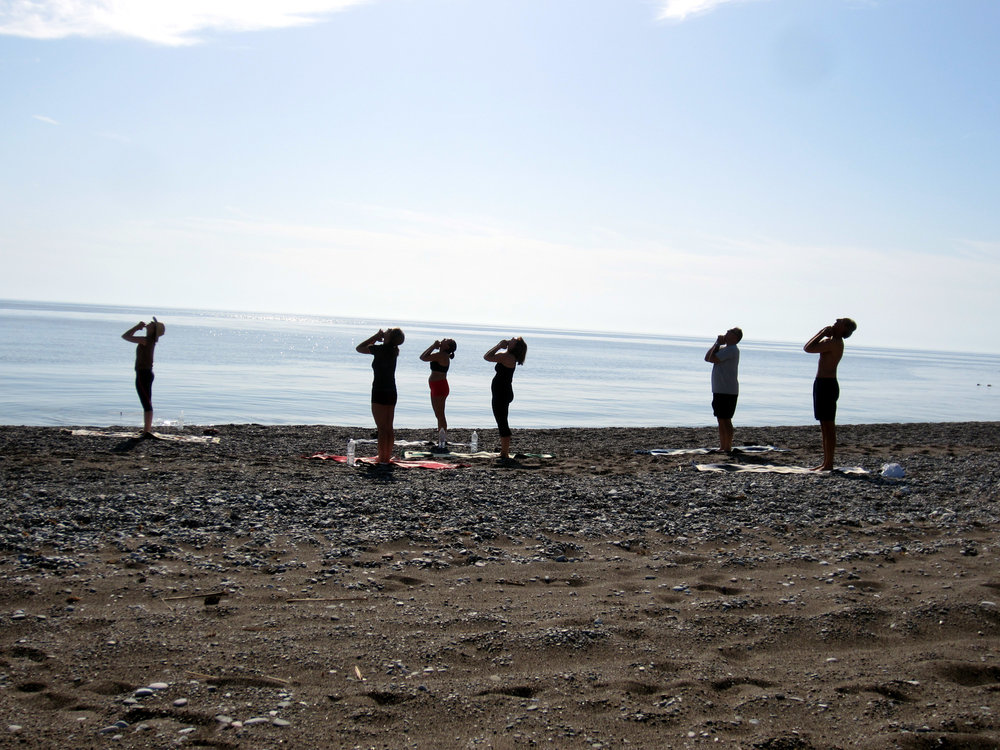 Morning Yoga Rhodes Greece on our private beach