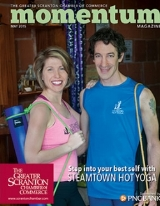 The cover of Momentum Magazine, May 2015 featuring Steamtown Hot Yoga's contributions to Scranton