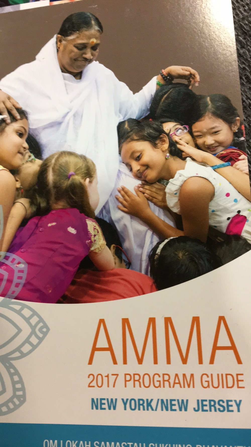 Photography is not allowed inside Amma's event, so here is a picture of the program!