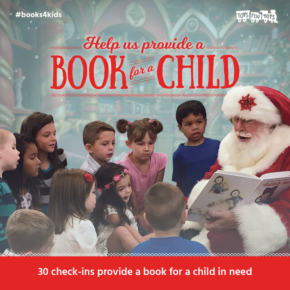 This December, every 30 check-ins at Steamtown Hot Yoga will provide the gift of a book to a child. We're working with Causely and Toys for Tots to make it happen. You can add #books4kids when you check in to promote the cause. For more information about this month's charity, check out www.toysfortots.org