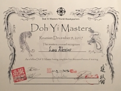 "In 2017 Lara was awarded the ""Doh Yi Masters Certificate""  Recognizing her for the completion of 10,000 hours in Qi Gong Training"
