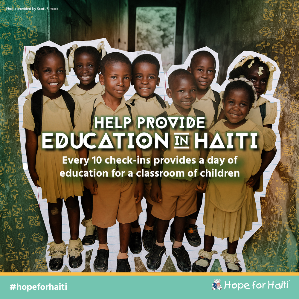 This February, every 10 check-ins at Steamtown Yoga will provide a day of education for a classroom of 30 children in Haiti! We're working with Causely and Hope for Haiti to make it happen. You can add #hopeforhaiti when you check in to promote the cause. For more information about this month's charity, check out hopeforhaiti.com