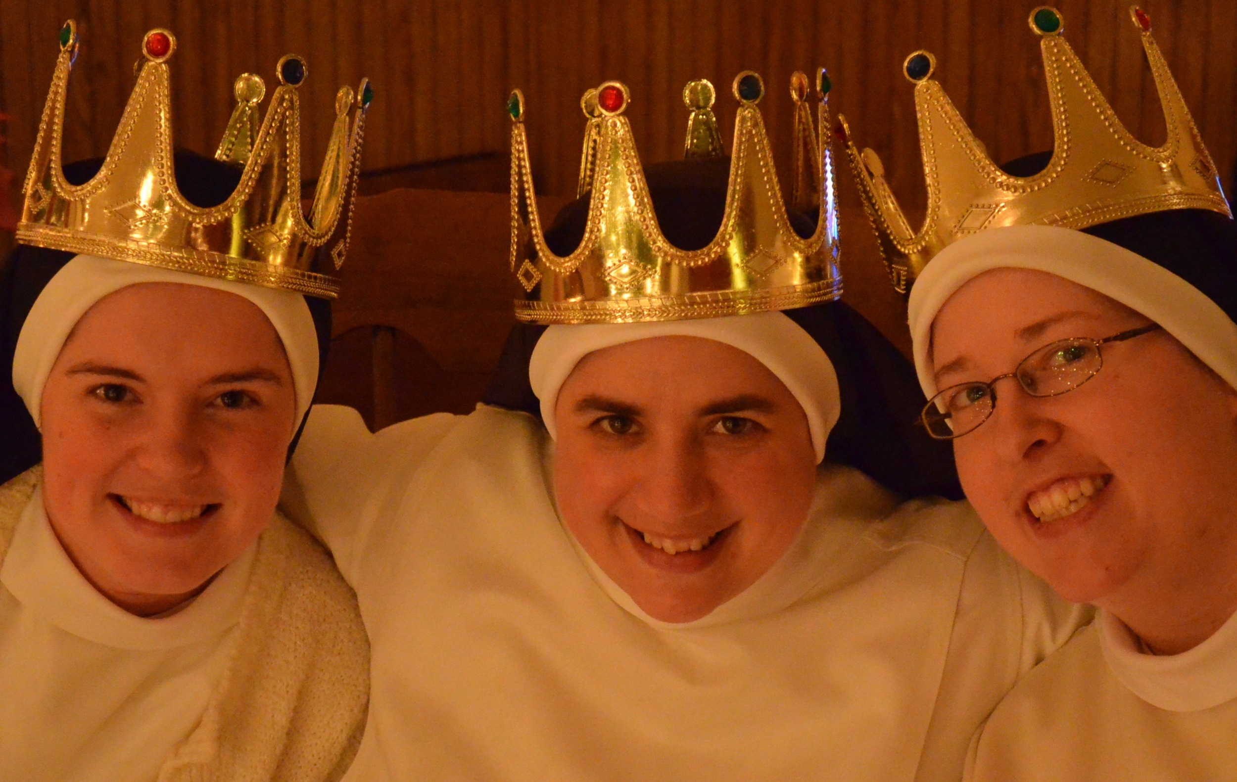 "Sr. Maria Teresa, Sr. Mary Catharine, and Sr. Mary Cecilia are the kings this year! The ""kings"" are the lucky sisters who find an almond in their breakfast muffin."