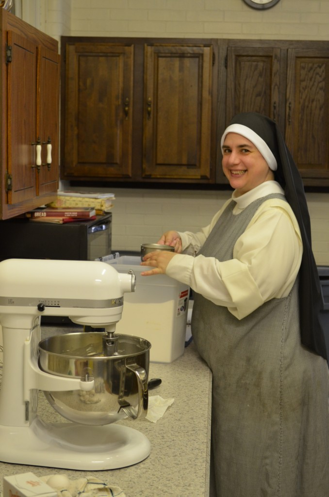 Sr. Mary Catharine making cookie dough.