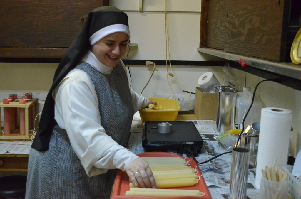 Sr. Mary Catharine working on her hand-made candles for Candlemas!