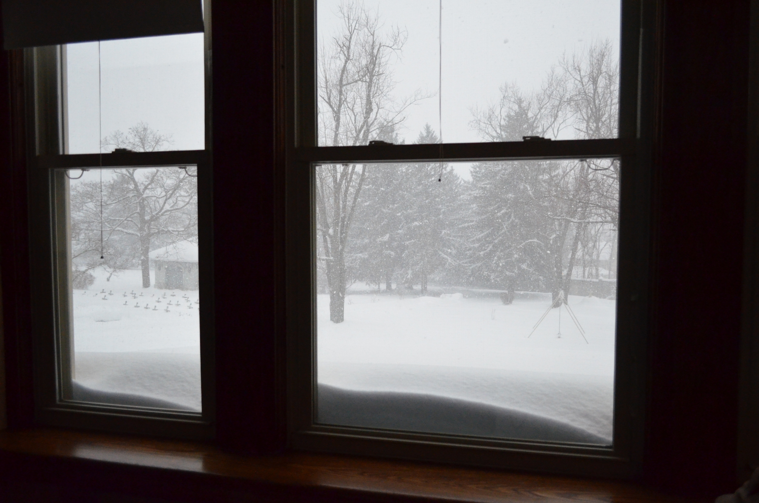 The lower roof is actually about a foot lower than these windows, but the snow is piling up!