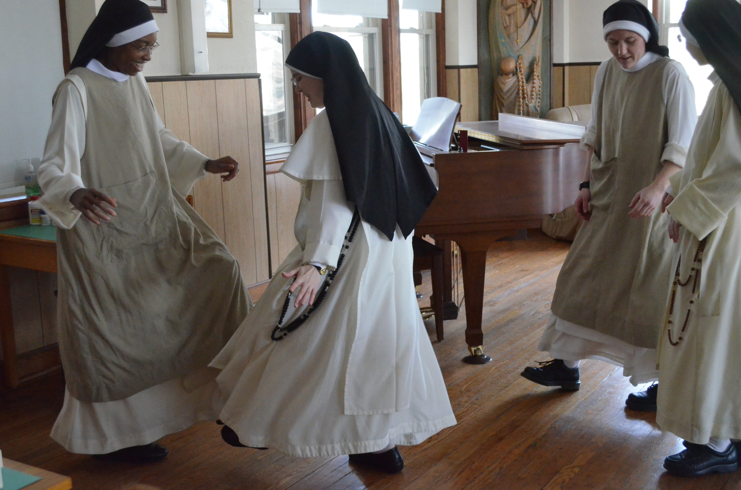 "Sr. Mary Rose, from the monastery in Lufkin, TX, stopped by briefly on her way home from the Association Council Meeting in the Bronx monastery.  She taught us a ""boot dance"" to help us keep warm during this endless winter!"