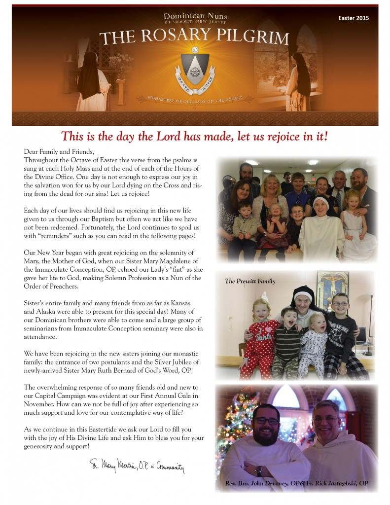 2015 Easter Newsletter