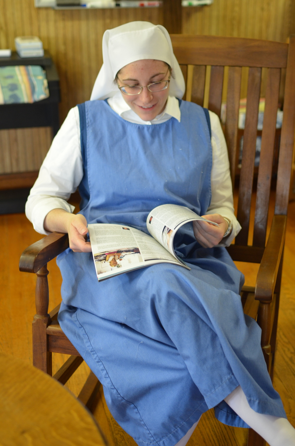 Sr. Danielle reads the latest issue of HANDMADE, the publication of the company from which we purchase most of our soap supplies.