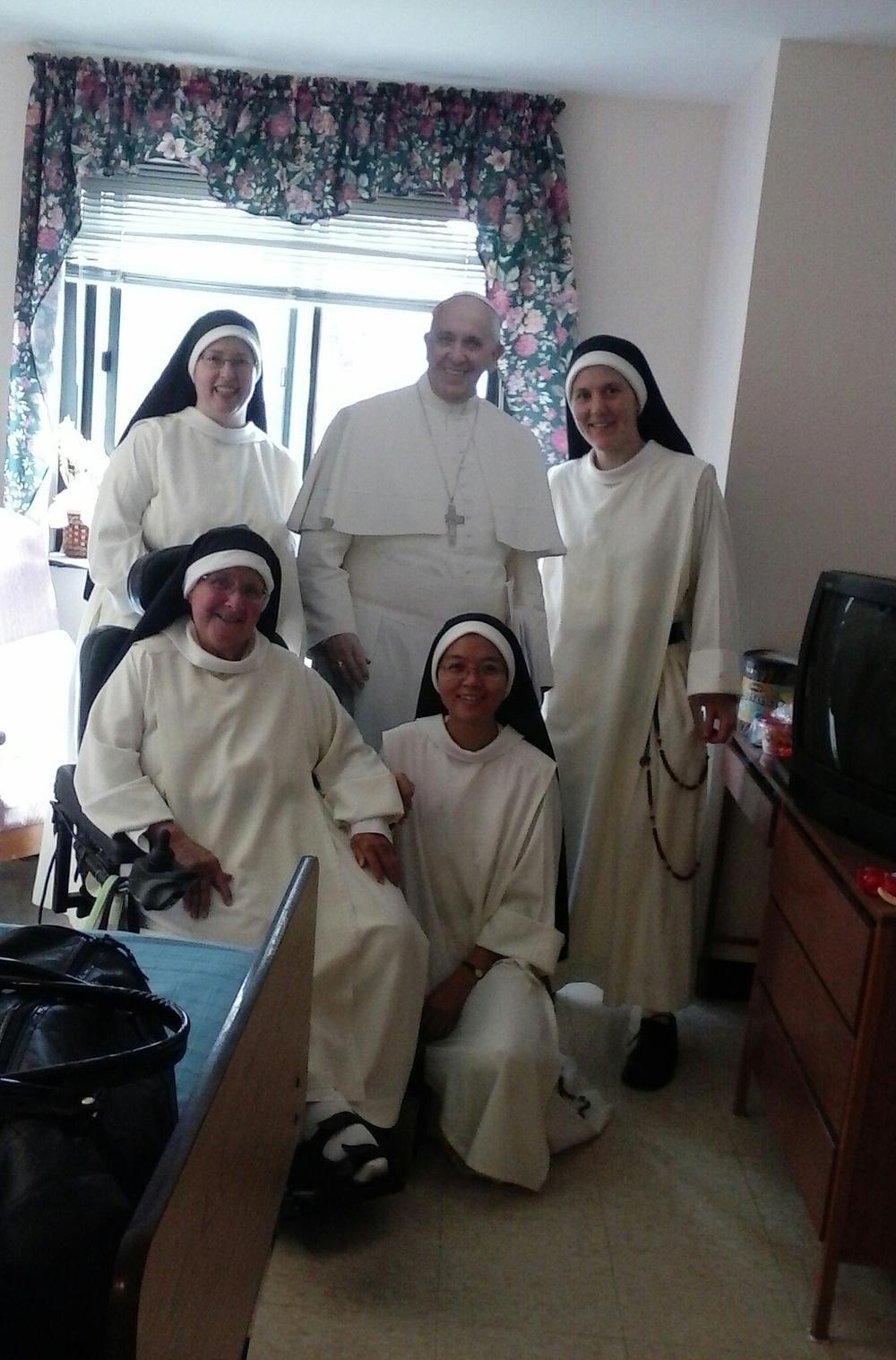 "Sr. Mary Cecilia, Sr. Mary Elizabeth, Sr. Joseph Maria, and Sr. Mary Magdalene with ""Pope Francis"""