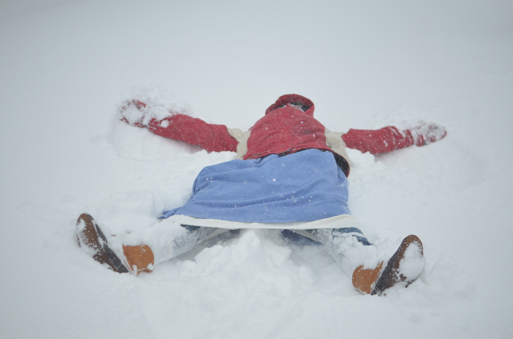 Sr. Mary Ana couldn't wait to make snow angels!