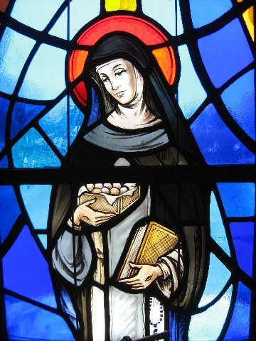 St. Catherine holding a box of chocolates! From the Dominican Monastery in Lancaster, PA.