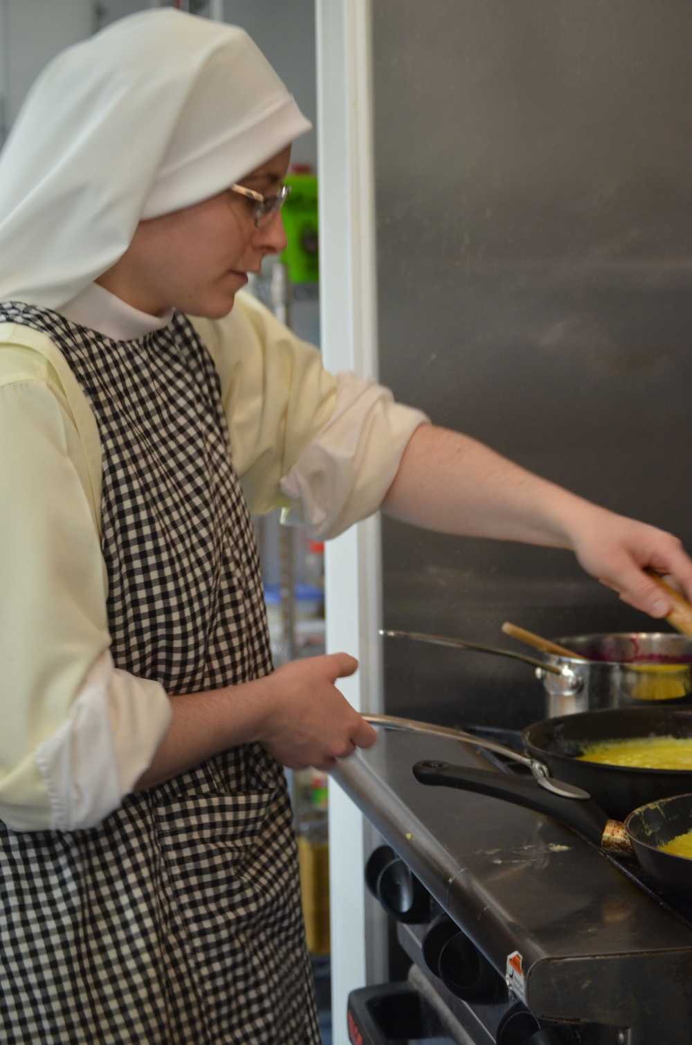 Sr. Mary Ana is a pro at scrambled eggs
