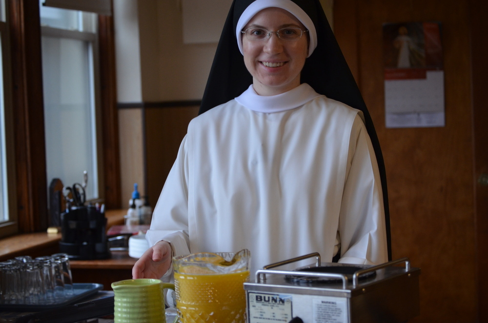 Sr. Mary Veronica with the morning's beverage selection