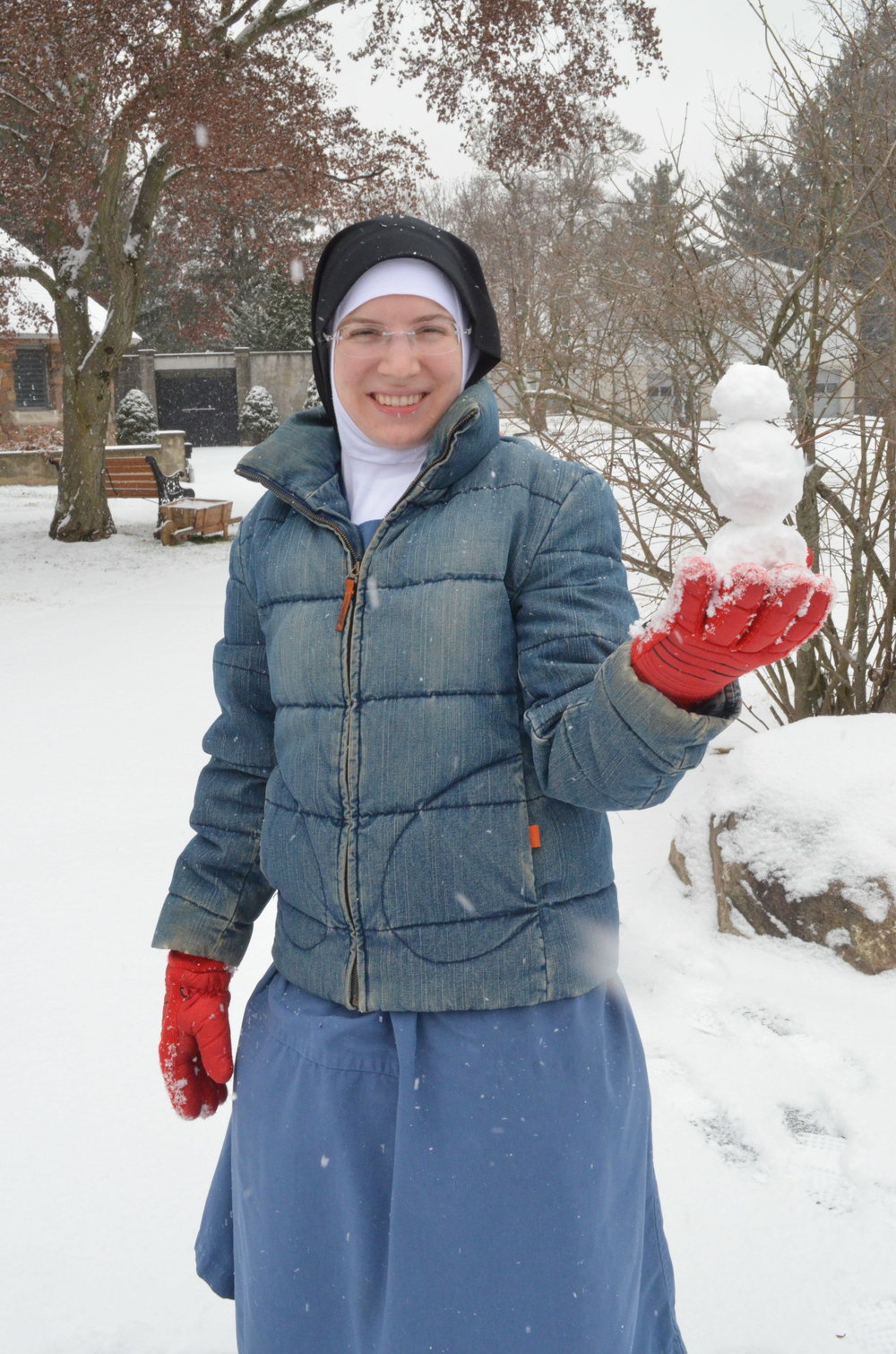 Sr. Mary Veronica with her miniature snowman.