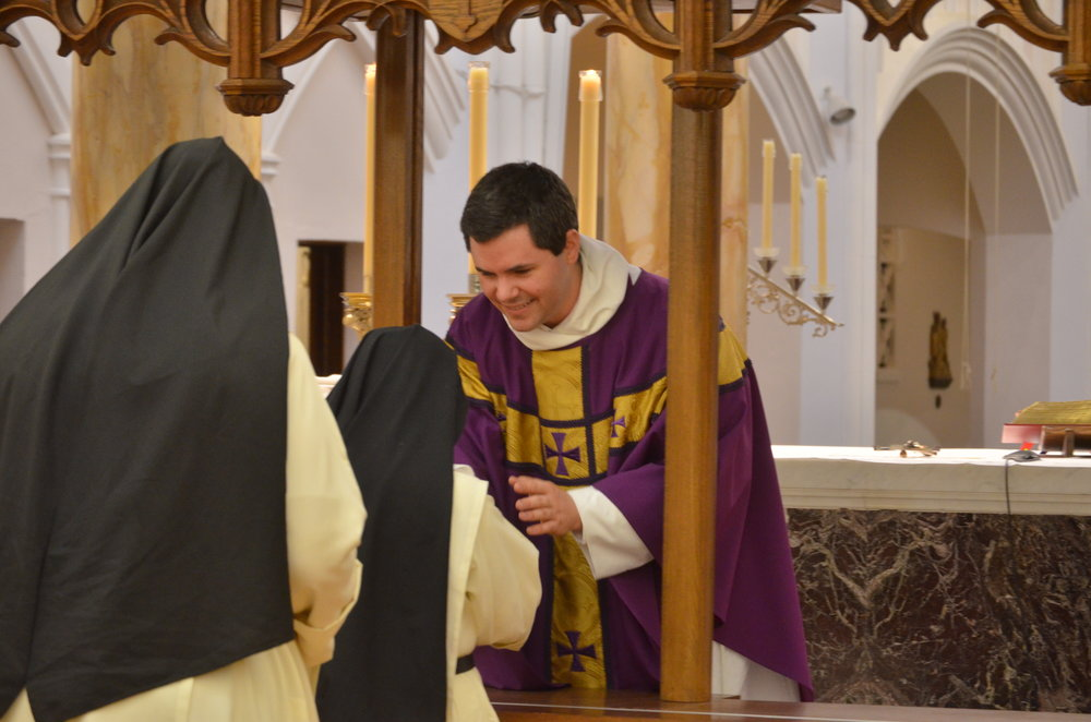 "Fr. Patrick gives his ""first"" blessing to Sr. Maria Agnes"