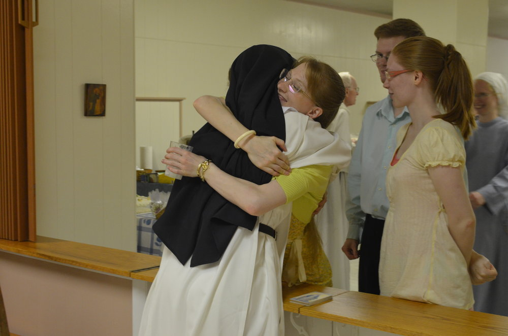 Sr. Maria Johanna greets her sister Angela