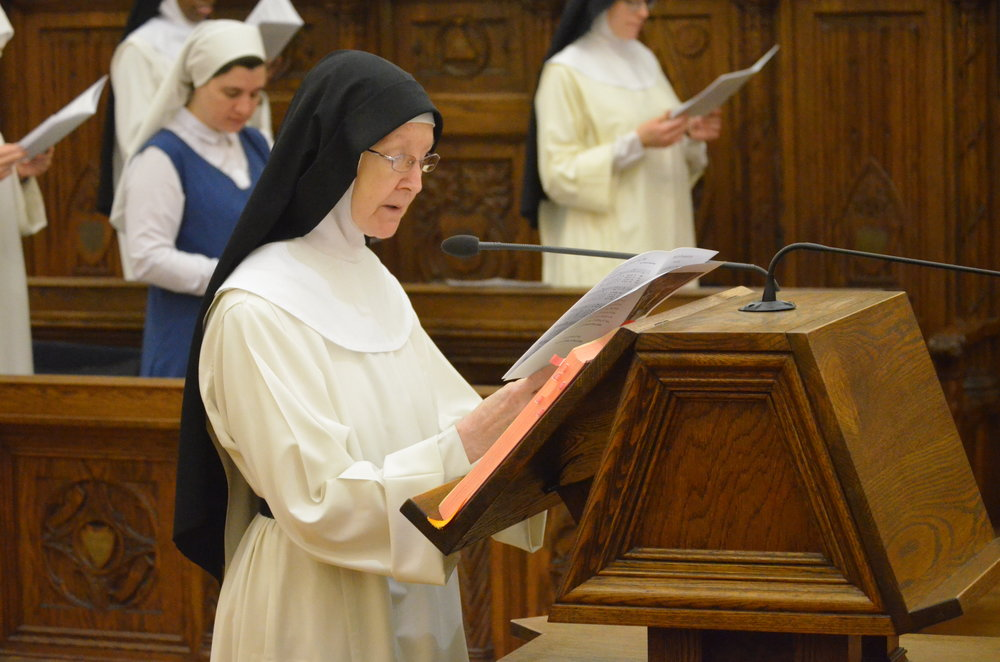 Sr. Mary Amata reads an intercession