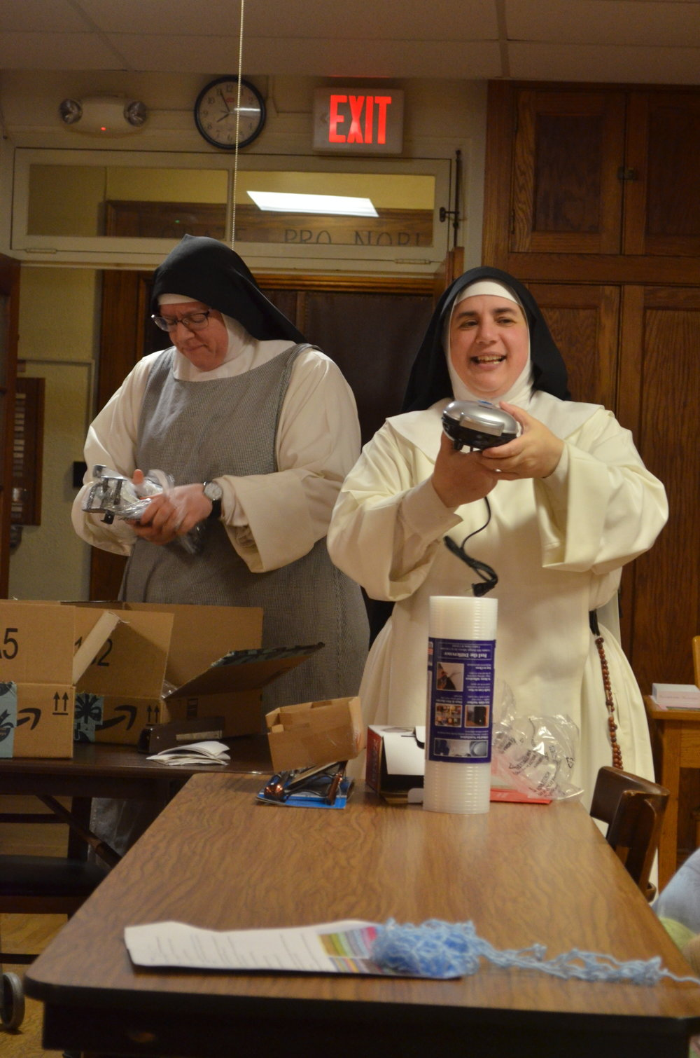Sr. Mary Catharine holds up the mini griddle