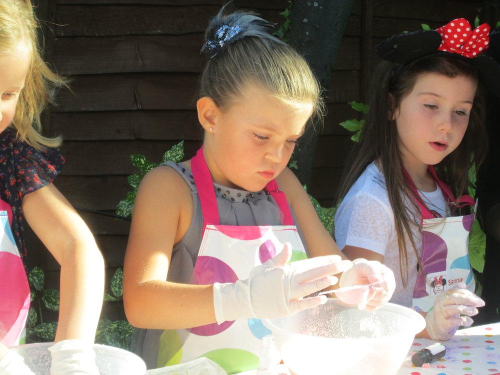 Sienna's party girls making bath bombs.JPG