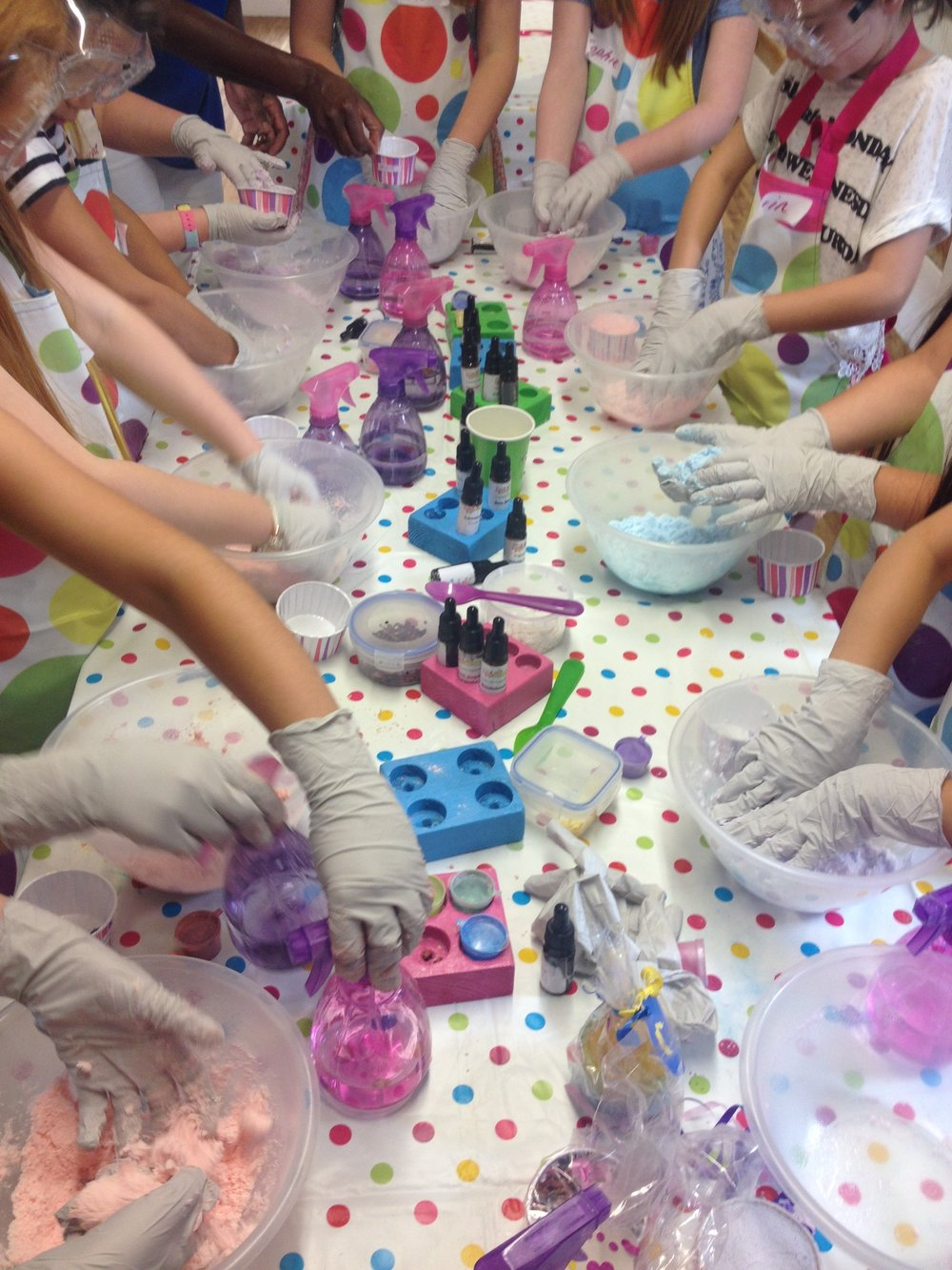 Girls making bath bombs at Hope & Isabel's Soap Making Party