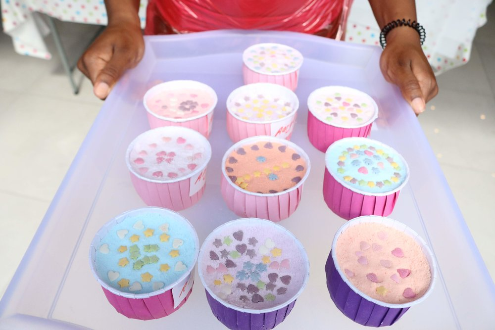 Bath bombs created by children
