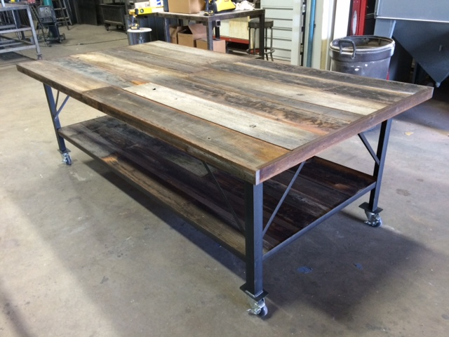 Steel & Reclaimed Wood Table - Old Fence Boards