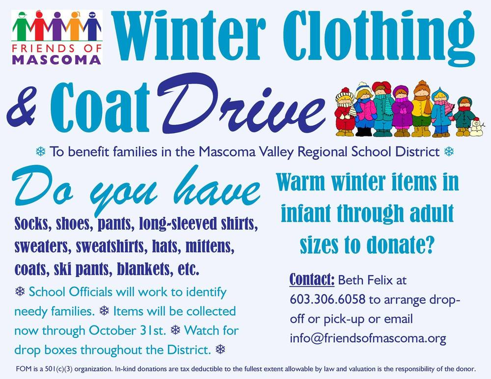 Winter Clothing & Coat Drive — Friends of Mascoma