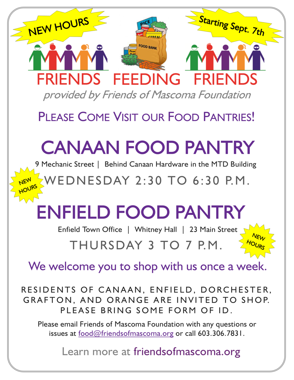 NEW Food Pantry Hours in Canaan Enfield Friends of Mascoma