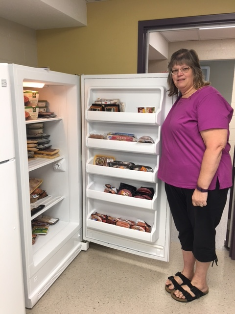 Mrs. Christine Jespersen, High School Consumer and Family Science Teacher and Pantry Manager.