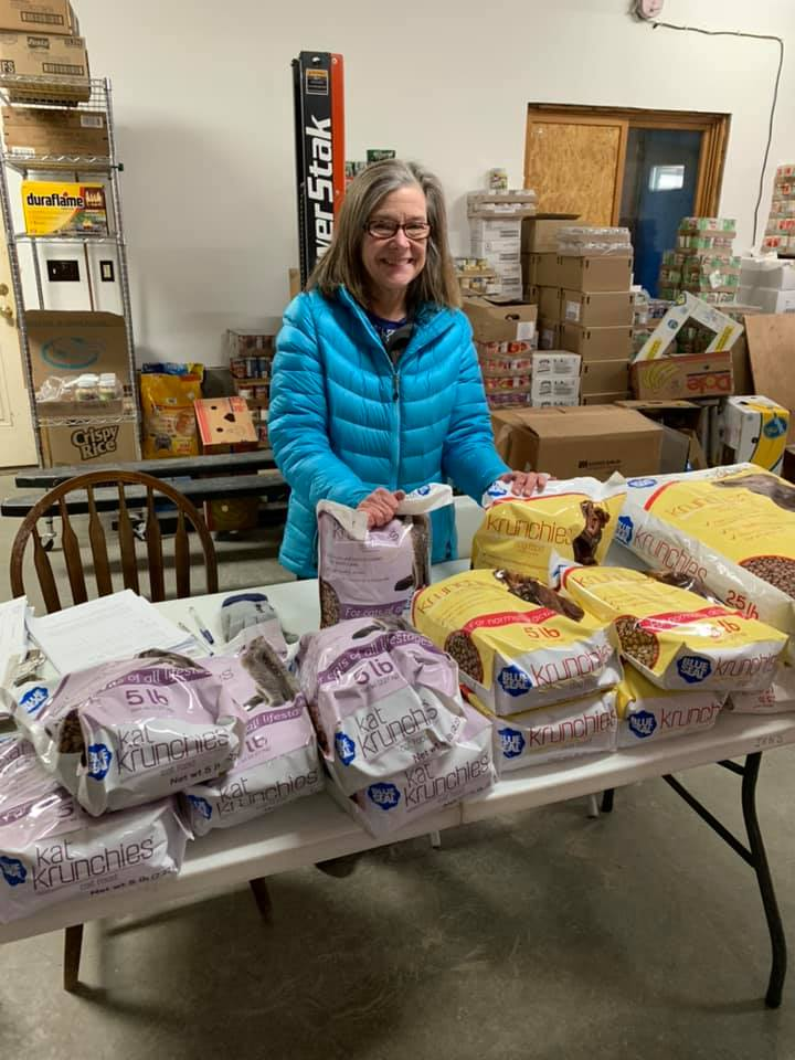 Pictured here is Kay Hillinger from the Upper Valley Humane Society bringing their mobile pet food pantry to our Canaan site.  Can't forget about our pets and food insecurity, too!   We so appreciate this added resource.   The UVHS does have a pet food pantry and we also keep pet food on hand. We love pet food donations!