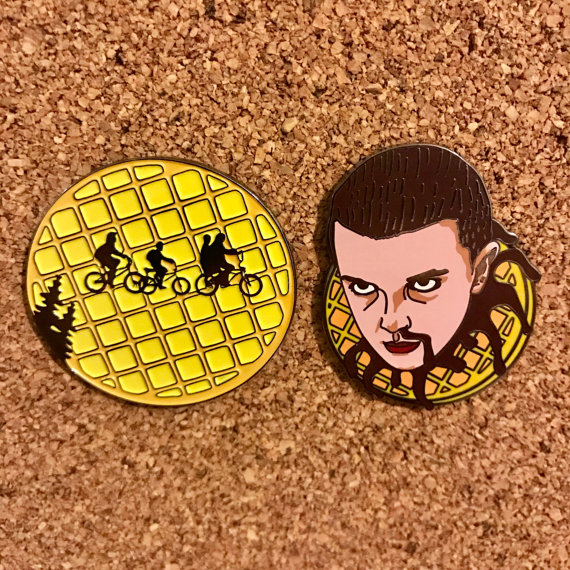"Stranger Things Set Lapel Pins   These are two pins that I designed inspired by the Netflix series ""Stranger Things"".  They are currently being sold as a set as well as individually on Etsy, check them out!"