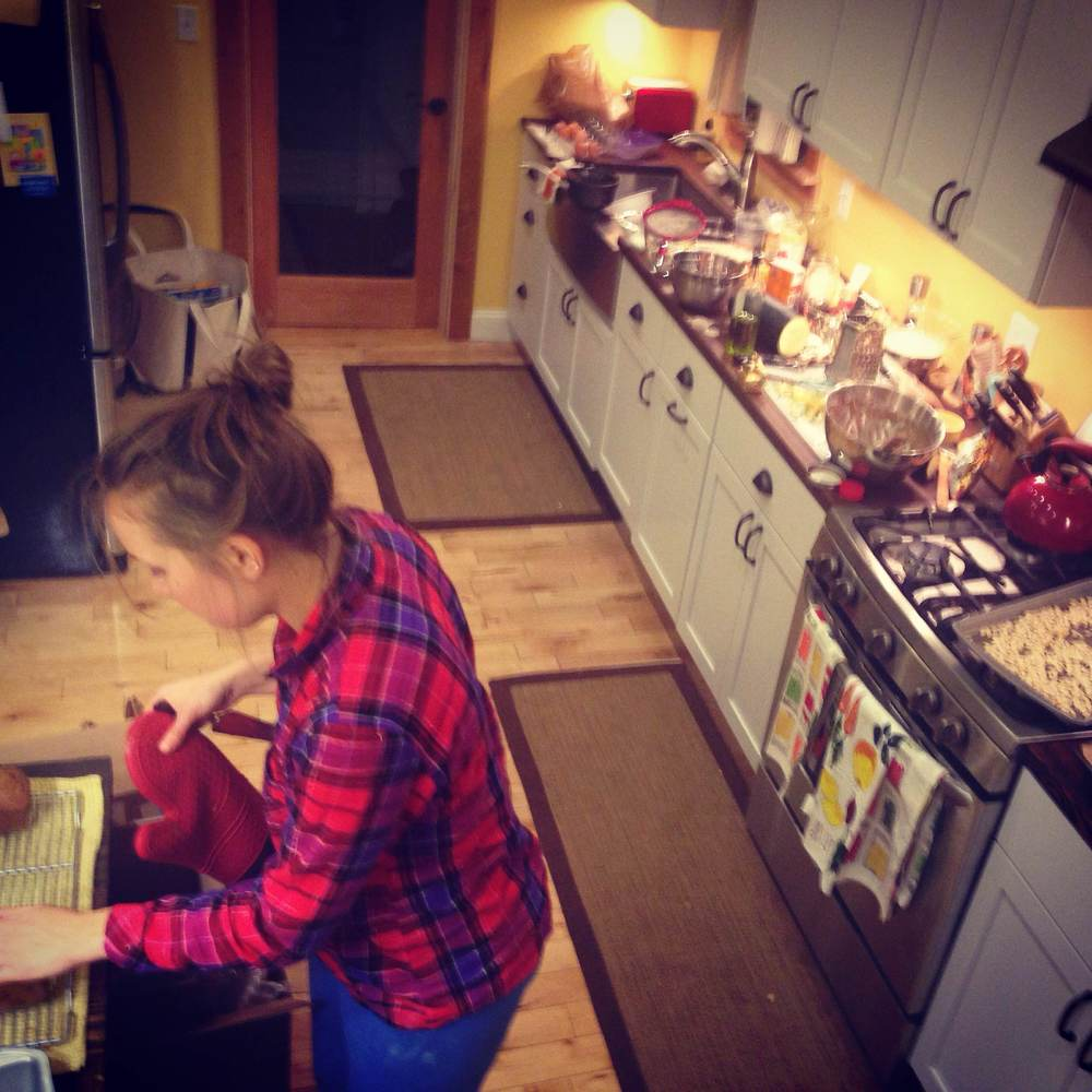 When cooking, the key is to make as big of a mess as possible...I am a natural (surprisingly the cupboards are all closed)