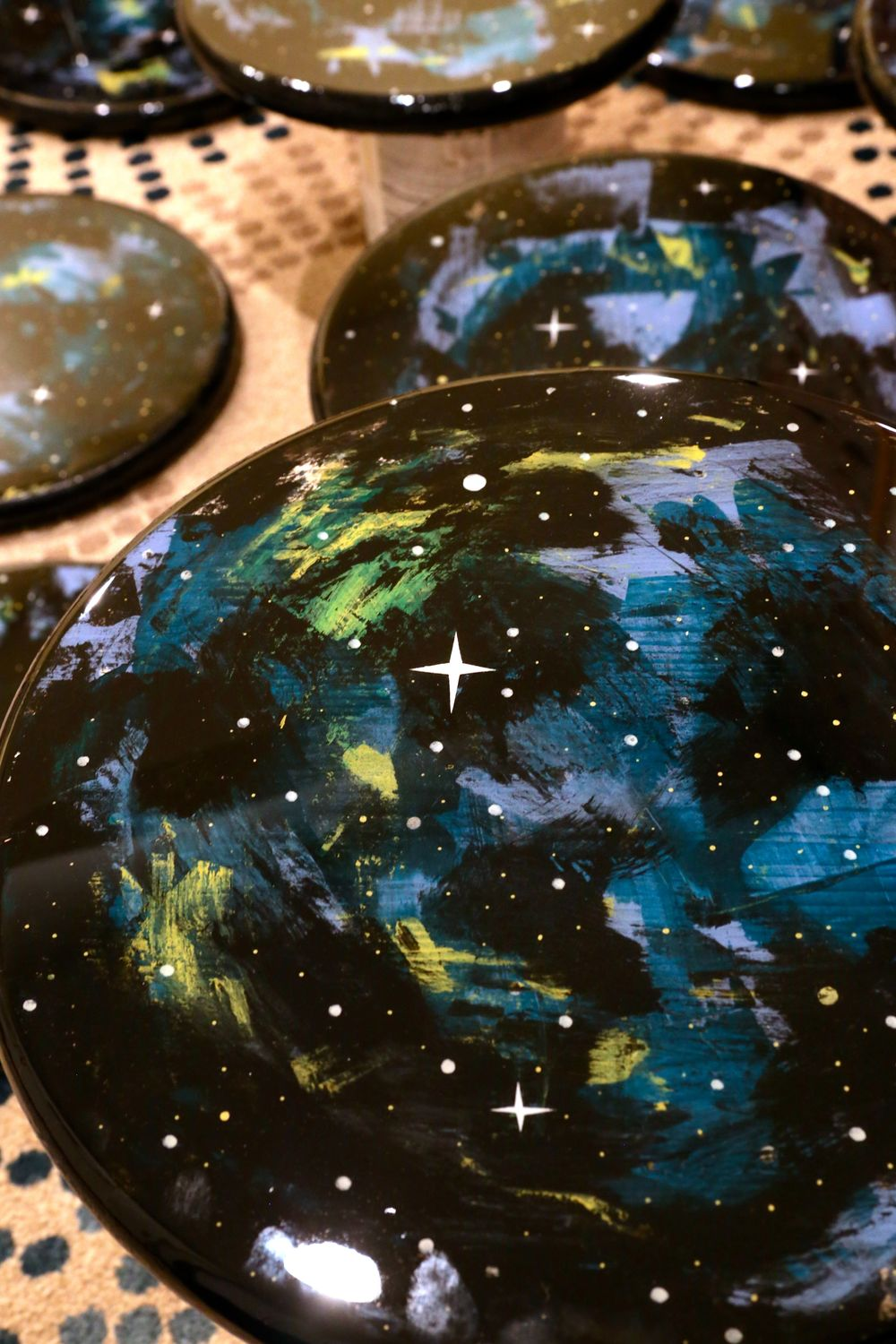 close up of jesse best's sky discs, create 2016