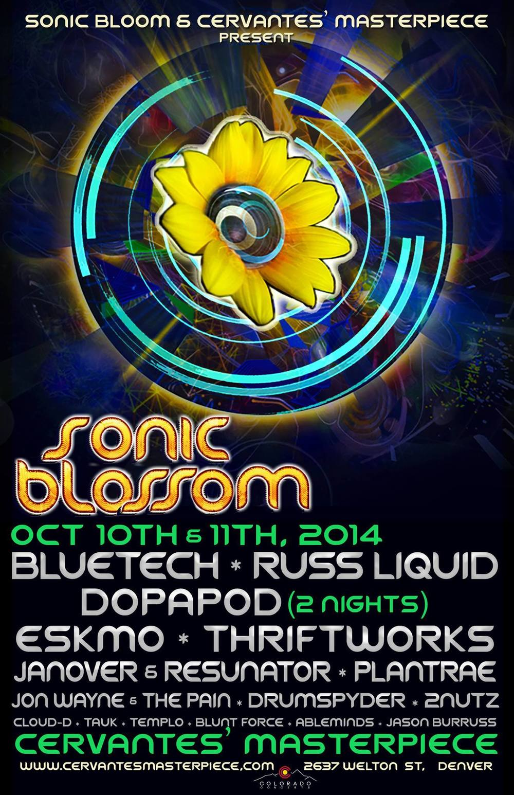 Blunt Force Sonic Blossom Bloom Bluetech Dopapod Cervantes Denver Colorado CO