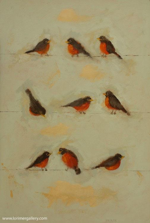 "Nine Robins (36"" x 24"")"