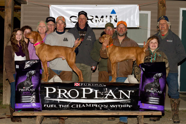 2015 NVA Eastern Shooting Dog Championship Winners  From Left to Right: Carlie Syczylo, Mikayle Syczylo, Carrie Syczylo, Terry Trzcinski (Purina Rep), Brian Fidler with DuRite's Covey Rise, Mark Johnson, Don Price (Judge), Jamie Fountain with Tibercreeks Billy the Kid, Lily Fountain, Eric Waltz (Judge)