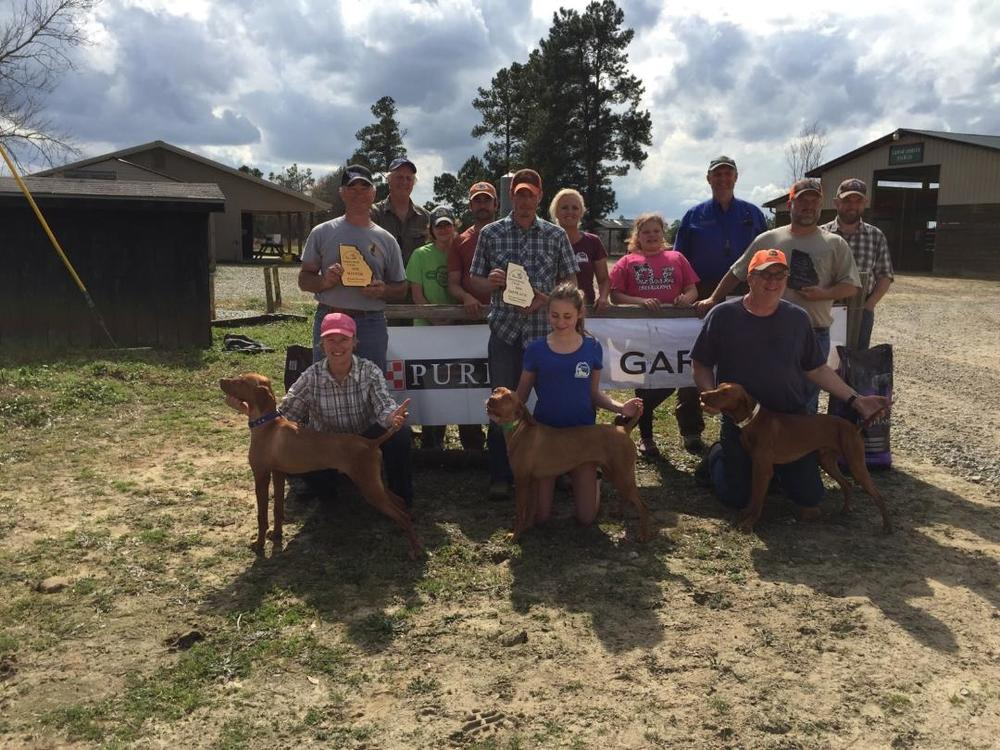 Pictured from Left to Right:  Nancy and Chad Chadwell (owner and handler - winner) with Mia's House of Kalua (Winner), Mark Johnson,  Mikayle Syczylo,  Mike Syczylo,  Brian Fidler (owner and handler – 2nd place dog),  Carlie Syczylo with Fidler's Fight to the Finish (2nd place winner),  Carrie Syczylo,  Lily Fountain,  Jim Carter (Judge),  Phil Stout with Winddance Bull Fighter (3rd place winner),  Jamie Fountain (handler – 3rd place dog),  Andrew Campbell (Judge)