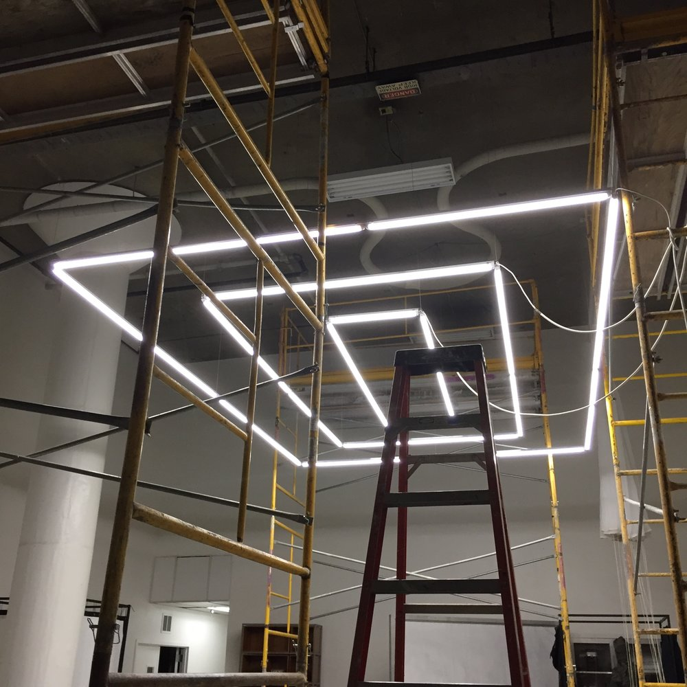 Site specific LED chandelier designed and manufactured for N.I.C.E. Collective headquarters in San Francisco.