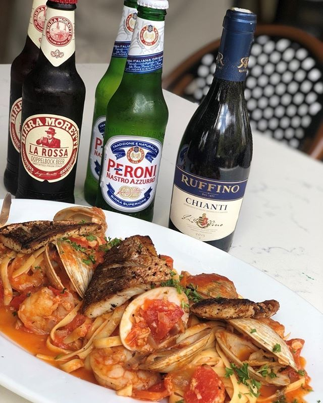 Tonight's 2 for $30 Special: Fettuccine ai Frutti di Mare, little neck clams, red snapper, and shrimp in zesty pomodoro  Our Monday 2 for $30 special includes a dinner entrée for two combined with your choice of half-bottle Ruffino Chianti, two bottles of Moretti La Rossa, or two bottles of Peroni.