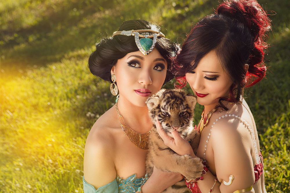 Stella Chuu and Chubear Cosplay as Slave Jasmines of Disney's Aladdin