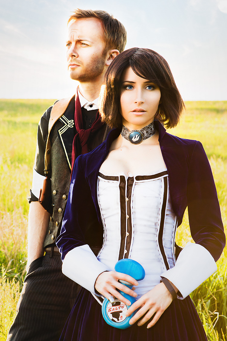 Sox and Bindi Smalls as Booker and Elizabeth of Bioshock Infinite