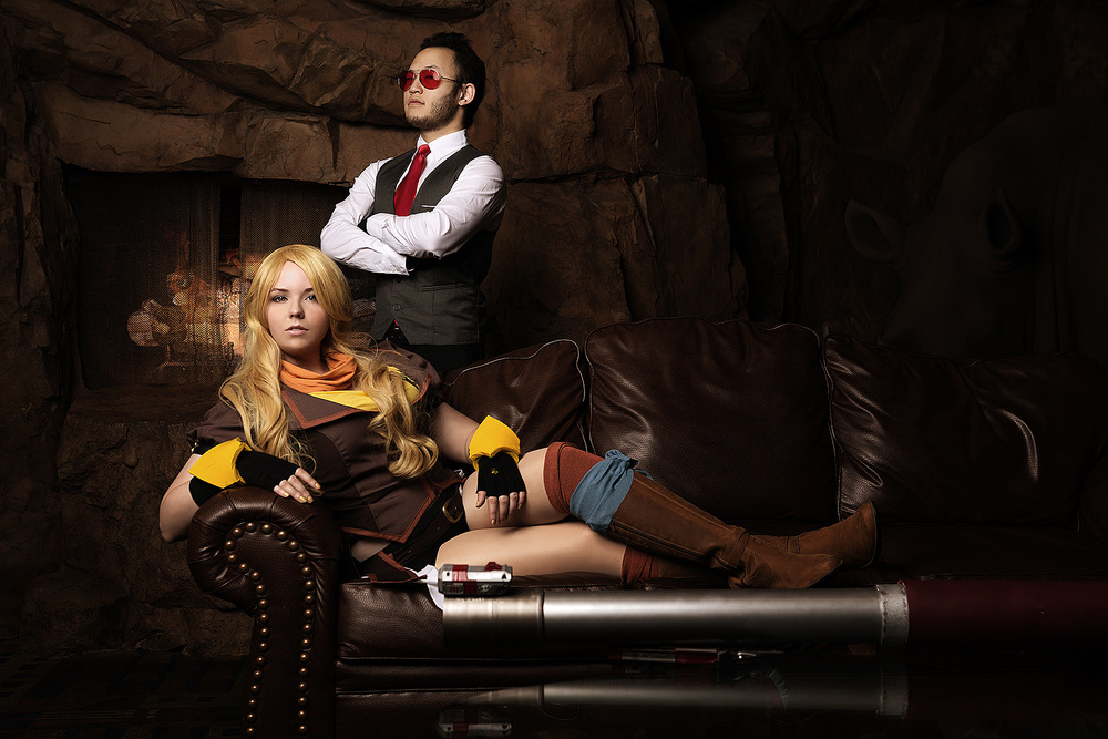 Sonja Carter and Dan Kim as Yang and Junior of RWBY
