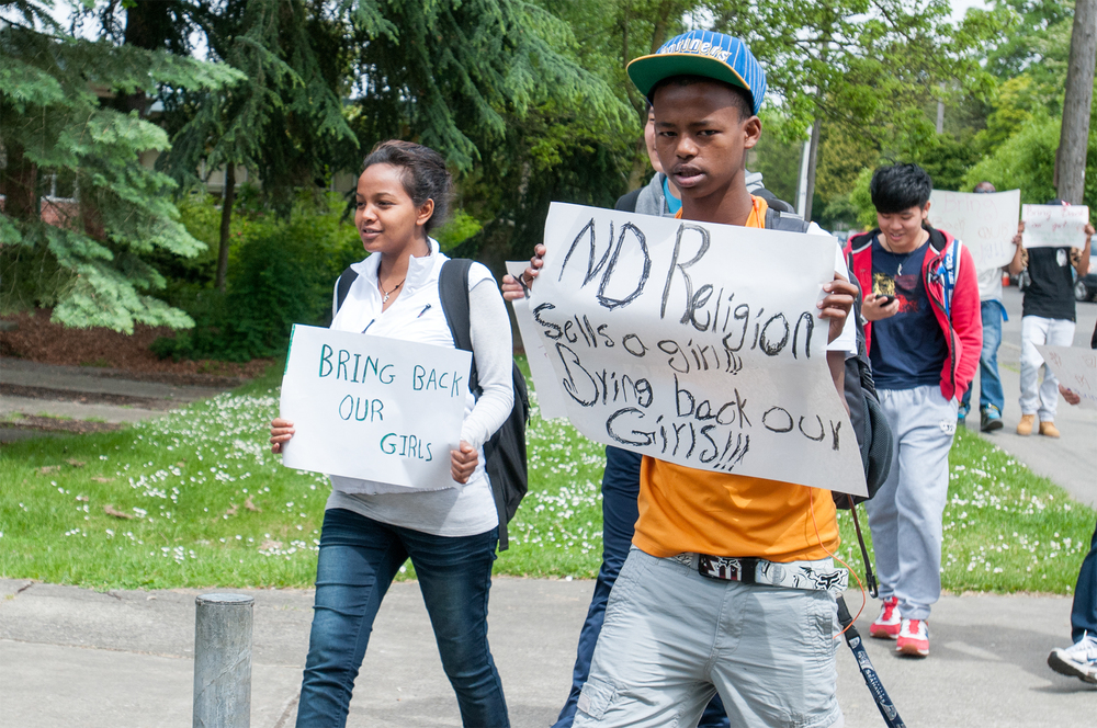 Seattle World School students demonstrate in reaction to the kidnapping of Nigerian girls