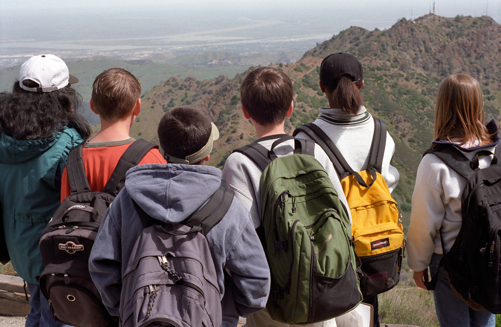 Middle school students reach the summit for a spectacular view, Diablo Nature Adventures
